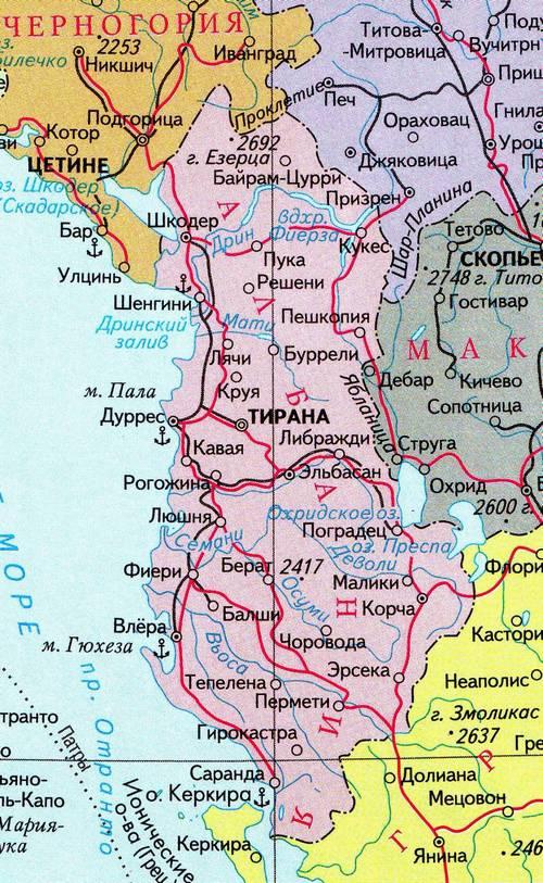 Албания, карта албании