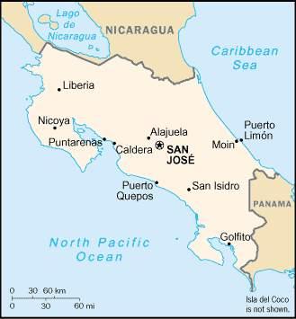 Коста-рика, карта коста-рики