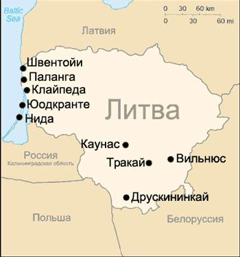 Литва, карта литвы
