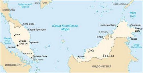 Малайзия, карта малайзии