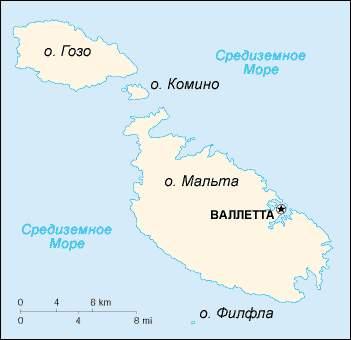 Мальта, карта мальты