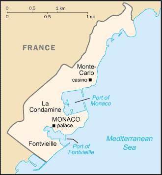 Монако, карта монако