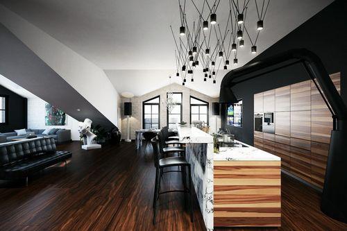 Рифленый потолок: как обставить асимметричную квартиру в мансарде