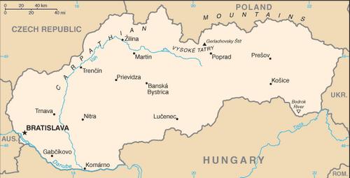 Словакия, карта словакии